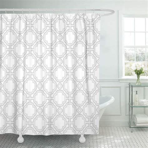 KSADK Moroccan Pattern Geometric Simple Gray and White