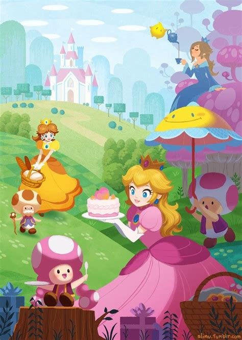 Peach, Toadette, Toad, Perry, Toadsworth, Daisy, Rosalina