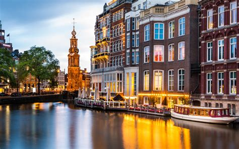 Mint Tower And Canal In Amsterdam Netherlands Best Hd