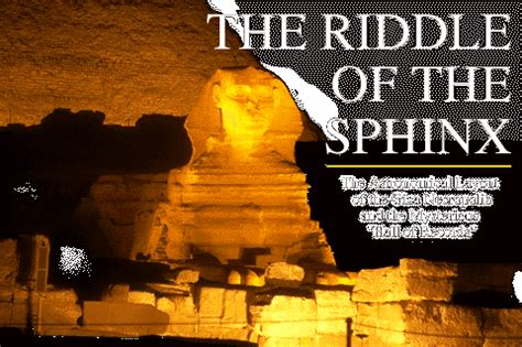 MYSTERIOUS WORLD: Winter 1998: The Riddle of the Sphinx