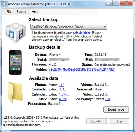 iPhone Backup Extractor Free 4