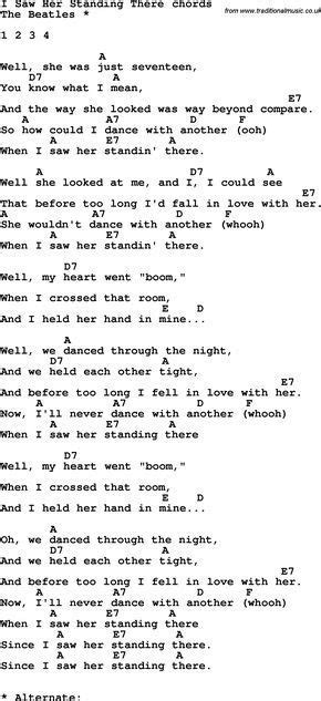 Song Lyrics with guitar chords for I Saw Her Standing