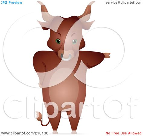 Royalty-Free (RF) Clipart Illustration of a Bull Standing