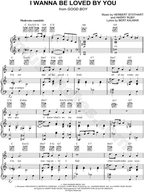 """Marilyn Monroe """"I Wanna Be Loved By You"""" Sheet Music in C"""